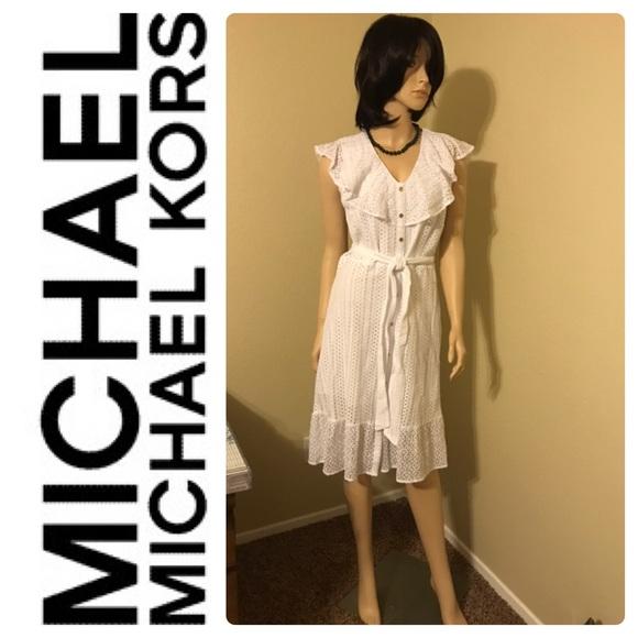 New Michael Kors White Summer Cotton Eyelet Dress